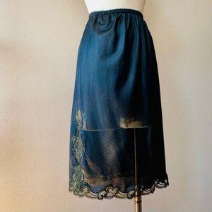 Vintage Saks Fifth Avenue black lace half slip lingerie skirt S